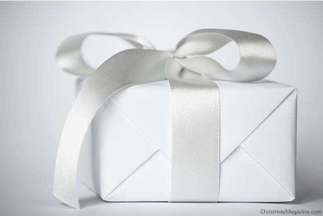 white Christmas gift wrapping