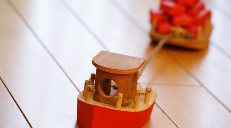 wooden toy tugboat Advent calendar