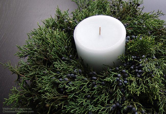 juniper arrangement with candle
