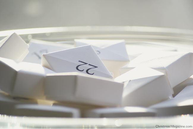 small white paper boxes Advent calendar