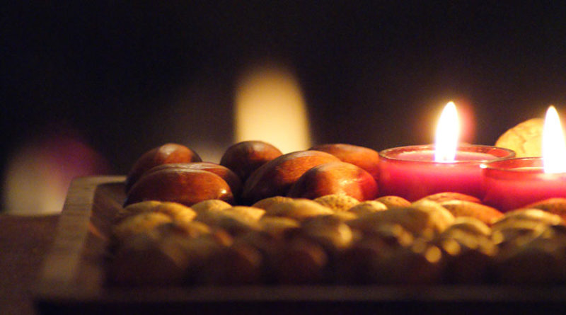 tray with candles and nuts