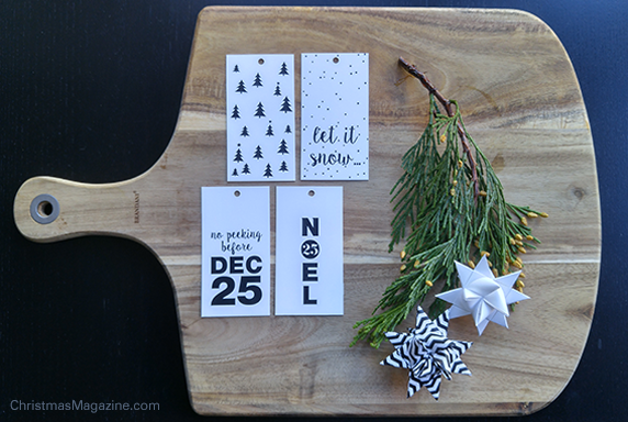 black & white gift tags for printing