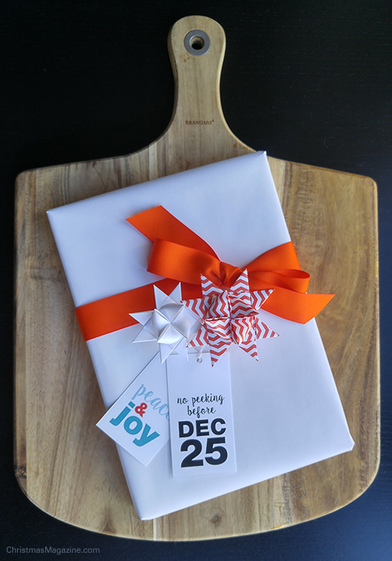 wrapped gift in white and orange
