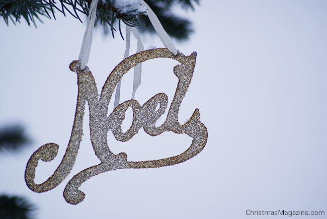 NOEL, german silver glitter ornament
