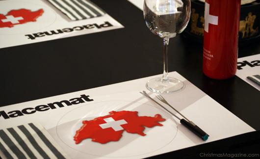 table set for fondue dinner