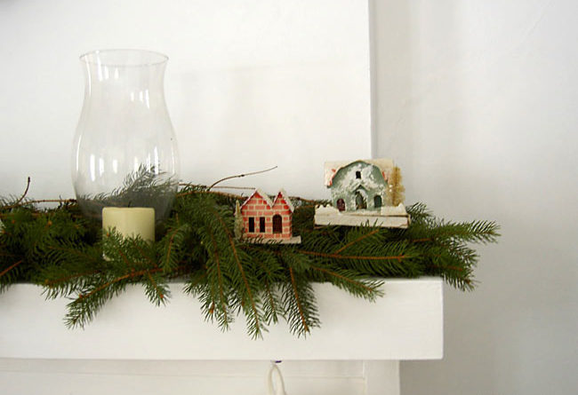 paper houses on mantle