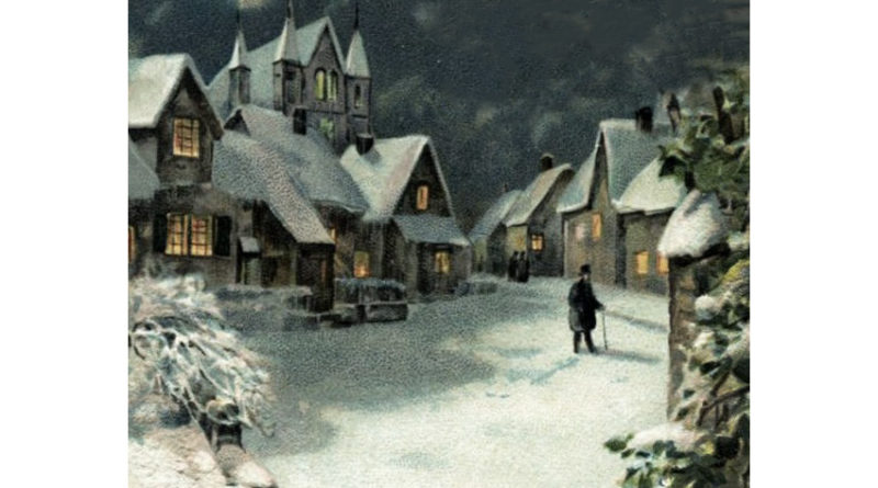 winter village with snow at night