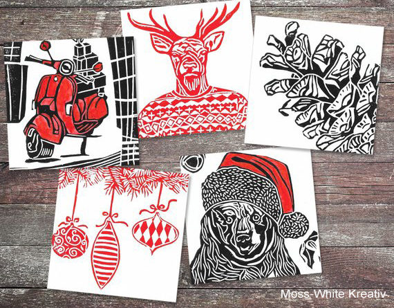 hand-printed linocut seasonal cards, Moss-White Kreativ, Christmas cards
