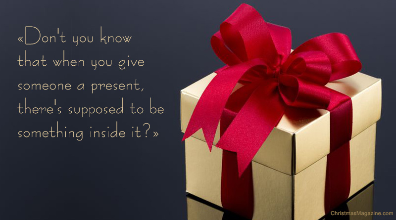 present, gift wrapped in gold