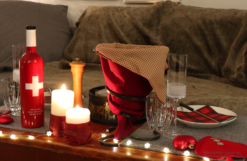 cheese fondue, New Year,s Eve, romantic, table setting
