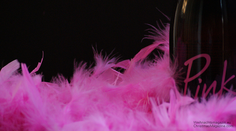 pink feather boa, burlesque, bottle wrapping, sparkling wine