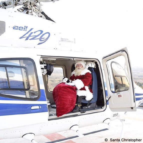 Santa Christopher, Boise, in helicopter