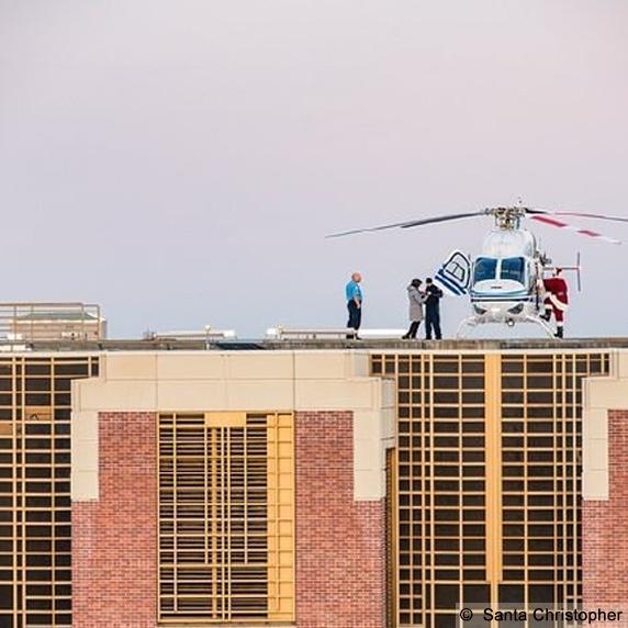 Santa Christopher, Boise, landing on hospital roof
