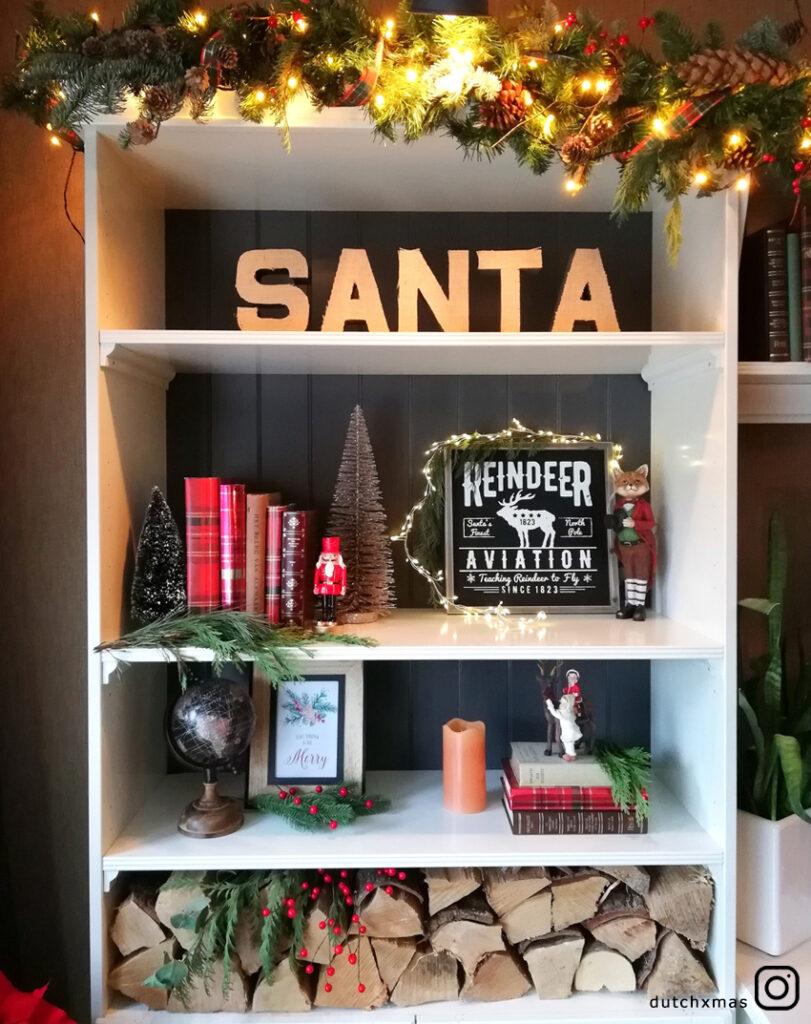 Santa, fireplace wood, Christmas
