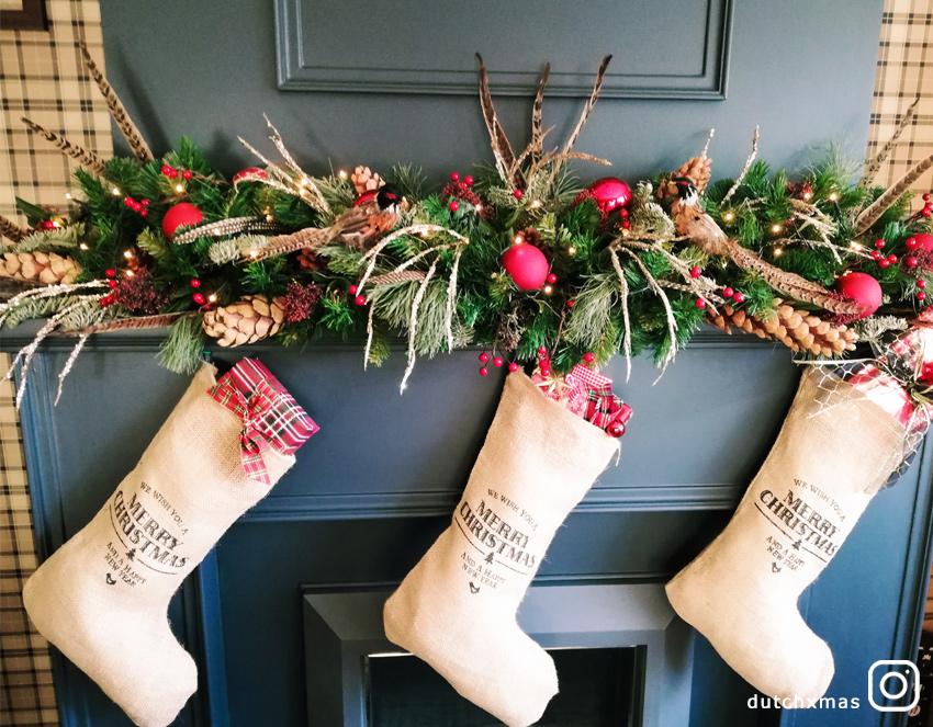 Christmas stockings, Christmas garland